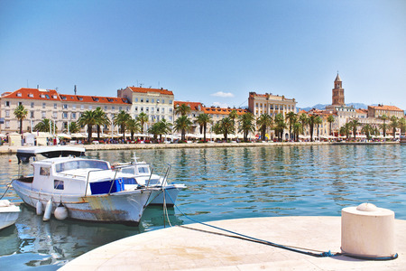 Seaside view of Split City old town with the Diocletian Palace and boats int the front