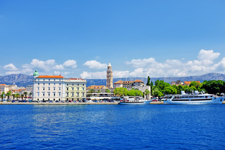 Split city harbor, old town in Croatia Standard-Bild - 108574799