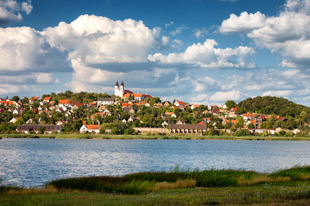 Tihany village with the abbey and the innert lake in the front at Lake Balaton, Hungary Imagens