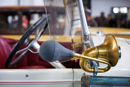 Brass car horn on a vintage car