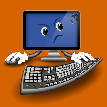 molesto: Diversi�n con el ordenador molesta mosca en el monitor sobre un fondo naranja