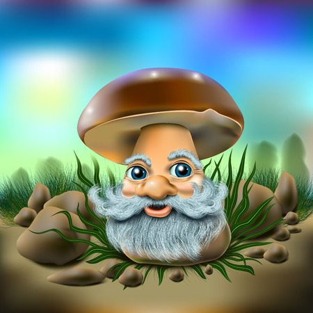 Funny mushroom with a beard on the natural background of stones and grass