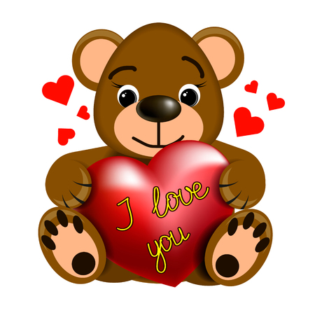 Toy brown Teddy bear with heart and inscription I love you.