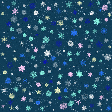 frequent: Pattern of colored patterned snowflakes on a blue background