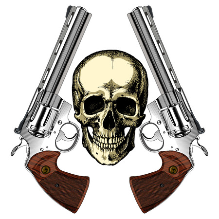 scalability: A human skull with two silver revolvers on an empty background