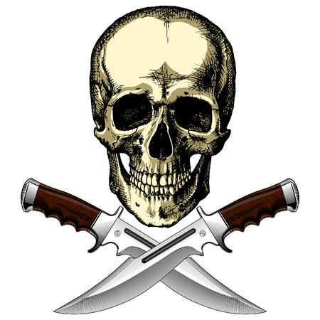 Human pirate skull with two knives on a blank background