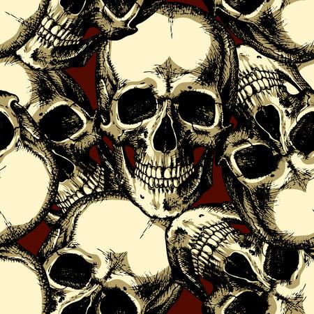 otherworldly: Skull on red background seamless pattern Illustration