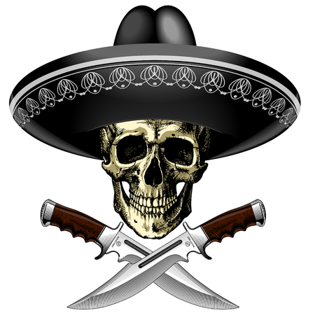 sophistication: Human skull in a Mexican sombrero with two crossed knives on a blank background