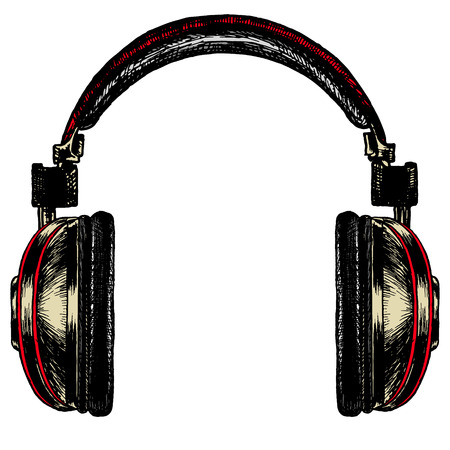 Black with red stripes headphones acoustic on a blank background