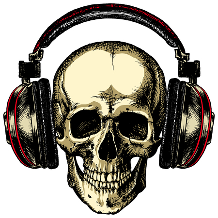 hardrock: The human skull is red acoustic headphones on a blank background