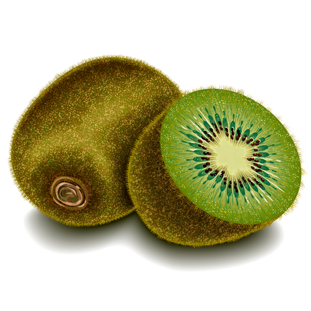 shop tender: Two sliced kiwi fruit with a shadow on a blank background