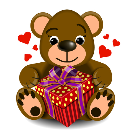 assignation: plush toy-love bear with box gift on a blank background