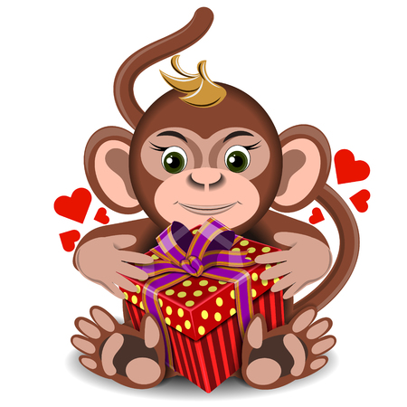 assignation: love the plush toy monkey with box gift on a blank background