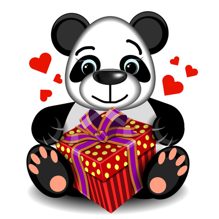 assignation: plush toy love Panda with gift box on a blank background