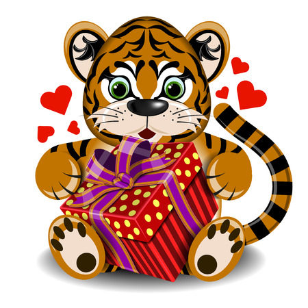 assignation: plush toy tiger in love with box gift on a blank background