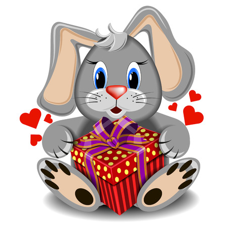 assignation: plush toy love rabbit with box gift on a blank background