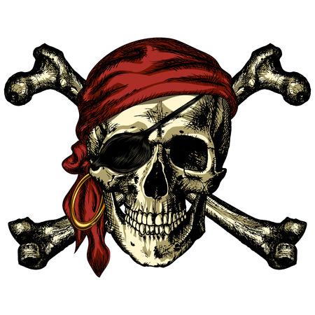 Crâne et os croisés de pirate bandana et une boucle d'oreille sur un fond blanc Banque d'images - 64934789