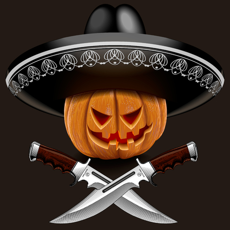 evil pumpkin for Halloween in a sombrero with knives on a brown background