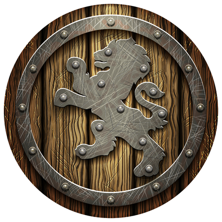 rivets: Round oak shield with rivets and a metal lion on a blank background