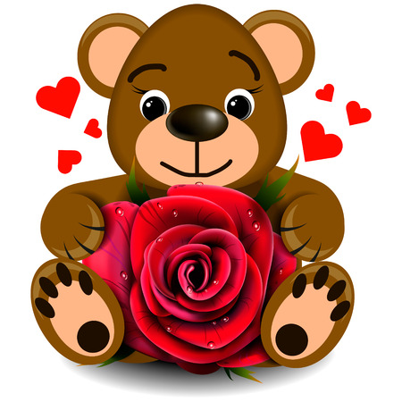 Love bear toy with realistic red rose on a blank background