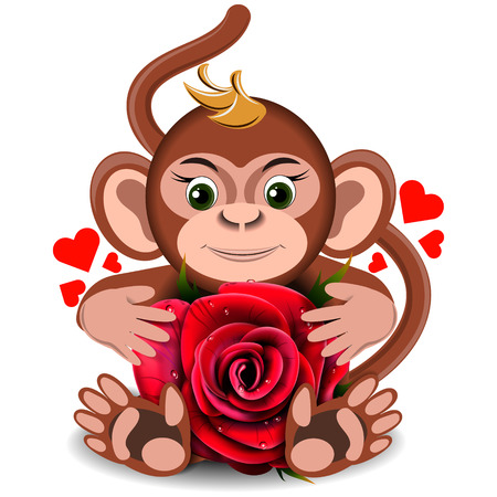 assignation: Love the monkey toy with realistic red on a blank background Illustration