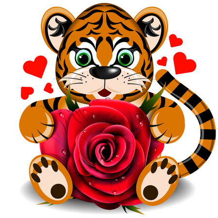 goodness: In love with a toy tiger with realistic red rose on a blank background Illustration