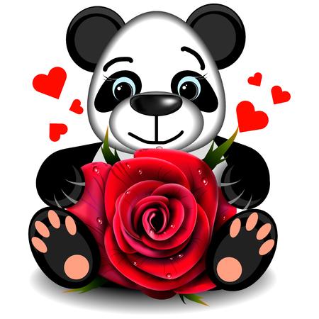 Toy Liebe Panda mit realistischen rote Rose auf einem leeren Hintergrund Standard-Bild - 65026539