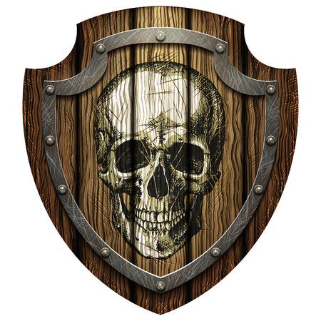 Oak shield with skull and metal studs on a blank background Ilustração Vetorial
