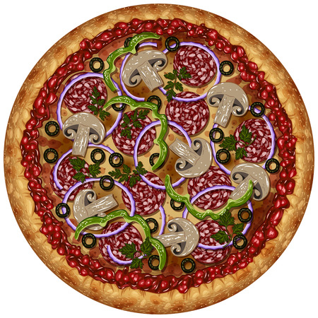 hearty: Realistic round pizza with sausage, olives and vegetables on a blank background