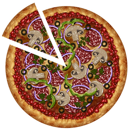 hearty: Realistic pizza with sausage and vegetables with a cut piece on a blank background