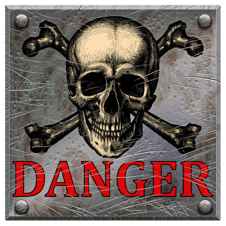 Realistic metal plate with a skull and the inscription of danger on a blank background