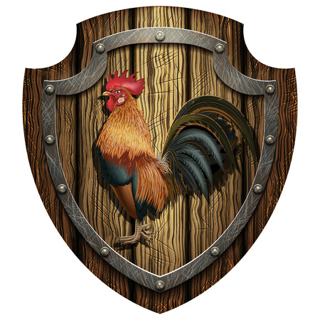asian family: Heraldic wooden shield with a rooster on a blank background