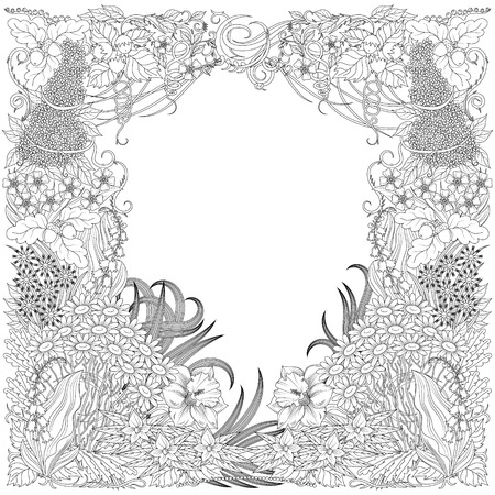 Colorless pattern with forest plants on a blank background