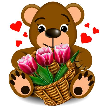 faithfulness: Plush Teddy bear with basket of tulips on a blank background