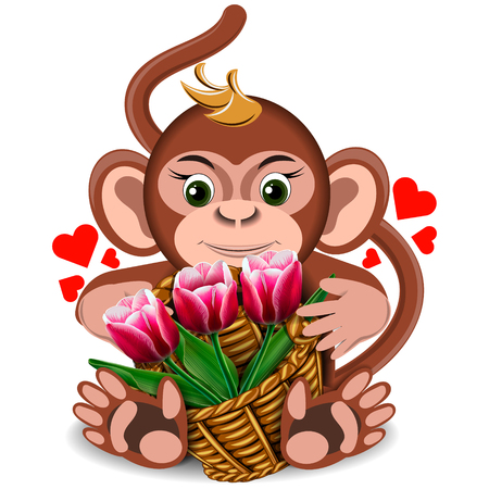 goodness: Plush toy monkey with basket of tulips on a blank background Illustration