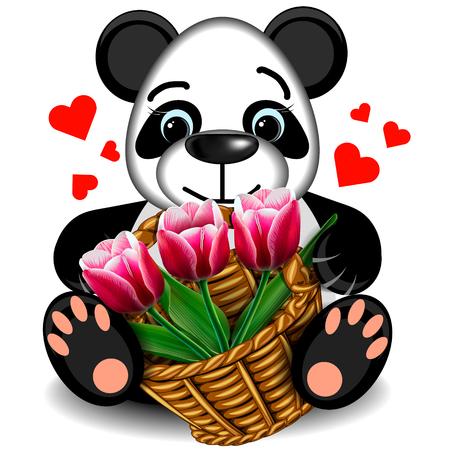 faithfulness: Plush toy Panda with a basket of tulips on a blank background