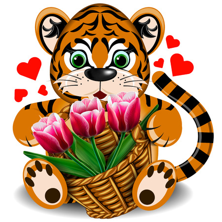 Plush toy tiger with a basket of tulips on a blank background Illustration