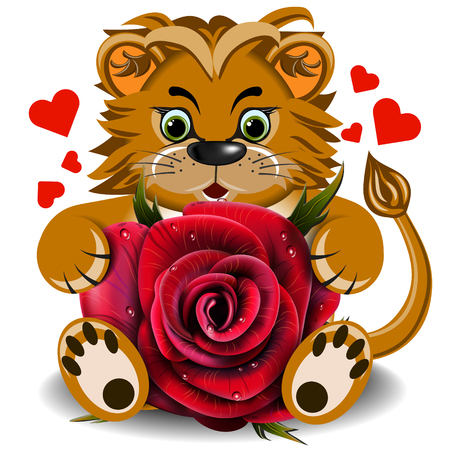 faithfulness: Plush toy lion with a red rose on a blank background Illustration