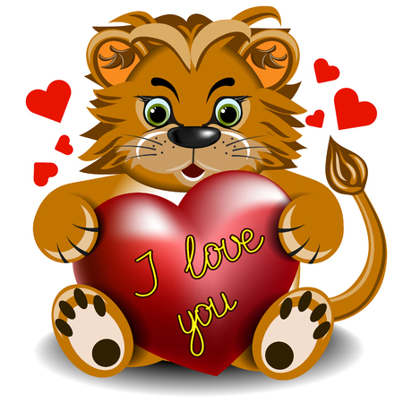 faithfulness: Plush toy lion with a scarlet heart on a blank background