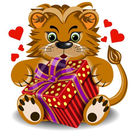 faithfulness: Plush toy lion with box gift on a blank background Illustration