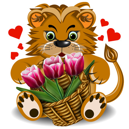 faithfulness: Plush toy lion with a basket of tulips on a blank background