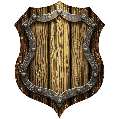 oak Gothic knights shield with rivets on a blank background