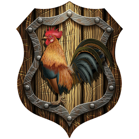 cock on oak heraldic knight shield with rivets on a blank background