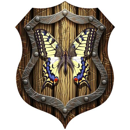 swallowtail butterfly on oak heraldic knight shield on a blank background Illustration