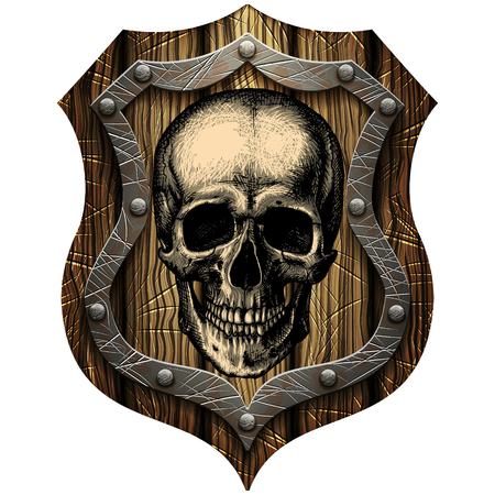 Oak shield with skull and metal studs on a blank background Illustration