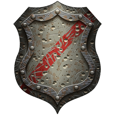 metal heraldic shield with scratches and dents on a blank background