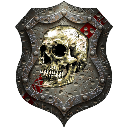 Metal shield with human skull in retro style
