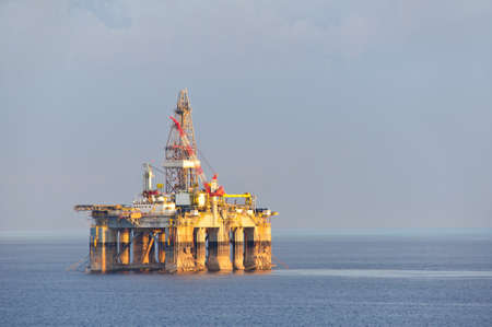 construction platform: Israel gas and oil rig in Cyprus. Offshore exploration platform Stock Photo