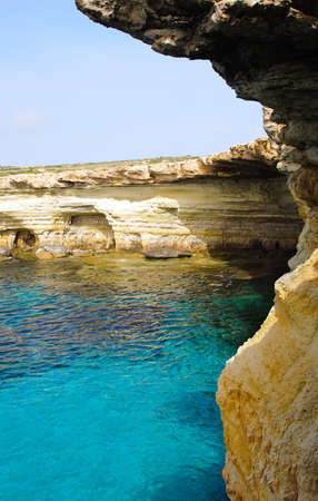 Sea caves near Cape Greko. Mediterranean Sea. photo