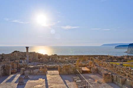 limassol: Ruins of ancient city panorama. Kurium, Cyprus Stock Photo